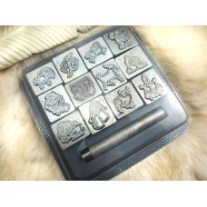 "RARE * ZODIAC * VINTAGE 1"" 3D DISCONTINUED Leather Stamps Craftool Horoscope SET"