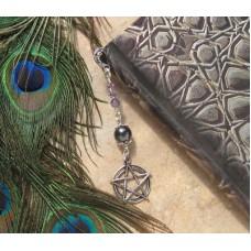 Metal Bookmark Amethyst Silver Pentacle / Pentagram BOOK SPELL Wicca