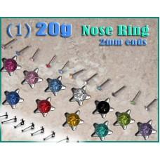20g STUD NOSE RING Small TINY STAR Crystal CZ Gem BONE BAR