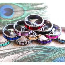 Geometric GLASS Cube TILED BIKER RING TITANIUM BAND SQUARE RUBIX SZ