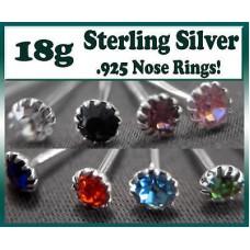 NOSE RING 925 Sterling Silver LT. BLUE CZ Gem L Shape
