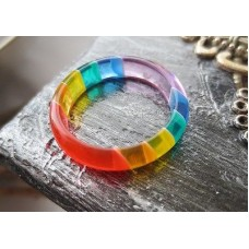 RAINBOW Lucite Acrylic RING Band *** AMAZING BANDS BEST QUALITY!* pride
