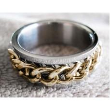 BIKER TITANIUM SPINNER RING W/ GOLD PL.CHAIN