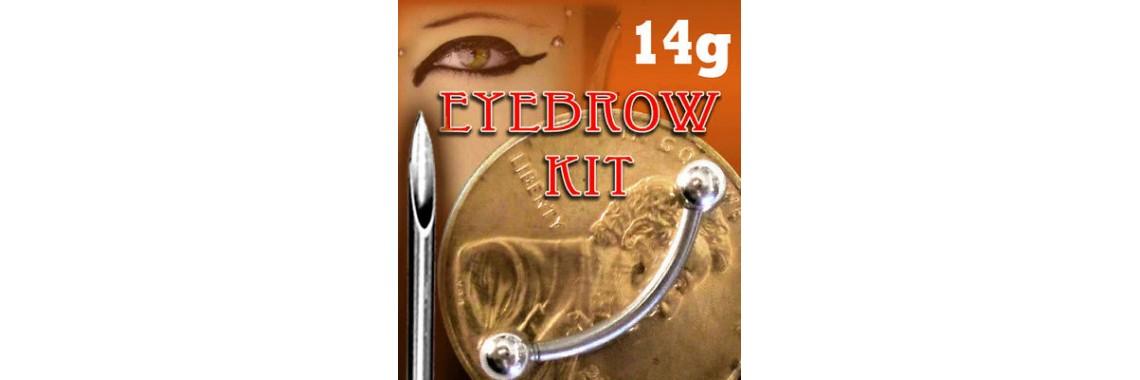 EYEBROW PIERCING KIT- NEEDLE + 3/8 CURVED BAR