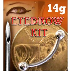 14g EYEBROW PIERCING KIT- NEEDLE + 3/8 CURVED BAR -14G