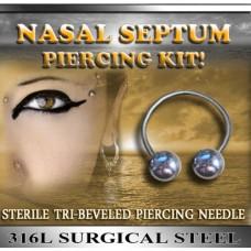 "14g PiERCING KiT w/ Needle NOSE SEPTUM Body Jewelry w/ 3/8"" HORSESHOE Nasal"