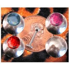16g Lip Labret Monroe gem cz bal end blue red pink